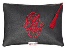 "Moroccan Pouch Clutch Bag with Hamsa Design Handmade Black Medium 20 cm x 14 cm / 8"" x 5.4"""
